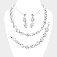 3 PCS Crystal Rhinestone Marquise Necklace Set