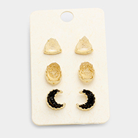 3 Pairs Mixed Druzy Stud Earrings