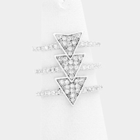 CZ Rhinestone Triple Triangle Cut Out Cage Ring