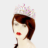 Glass Teardrop Cluster Pageant Queen Tiara