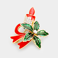 Enamel Christmas Candle Bow Pin Brooch