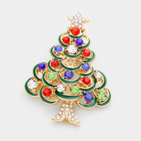 Multi Colored Stone Christmas Tree Pin Brooch