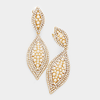 Marquise Rhinestone Clip on Earrings