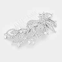 Pave Rhinestone Leaf Cluster Hair Comb