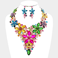 Glass Stone Flower Statement Bib Necklace