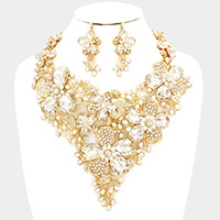 Glass Stone Flower Pearl Statement Bib Necklace