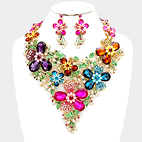 Glass Stone Flower Pearl Statement Necklace
