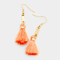 Metal Bar Drop Tassel Earrings