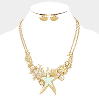 Sealife Theme Pearl Statement Necklace