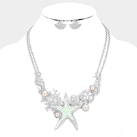 Metal Sealife Theme Pearl Statement Necklace