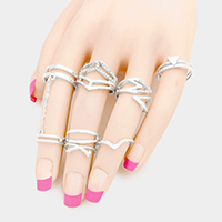 7 PCS Mixed Rhinestone Trim Chain Connection Rings