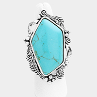 Embossed Leaf Turquoise Stretch Ring