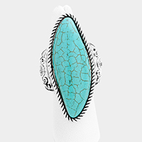 Embossed Metal Turquoise Stretch Ring