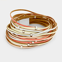 Multi Layered Faux Leather Metal Ball Magnetic Wrap Bracelet