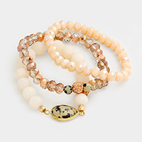 3 Layers Beaded Semi Precious Teardrop Stretch Bracelet
