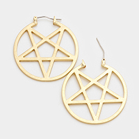 Etched Star Hoop Pin Catch Earrings