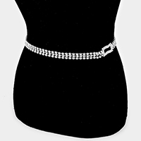 Crystal Rhinestone Rectangle Accented Chain Belt