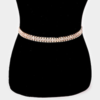 Layered Rhinestone Metal Chain Chain Belt