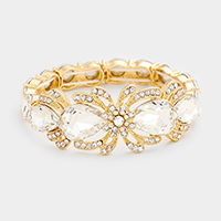 Floral Rhinestone Trim Glass Stone Stretch Bracelet