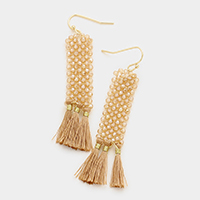 Beaded Rectangle Fringe Triple Tassel Earrings
