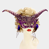 Halloween Goat Feather Masquerade Mask