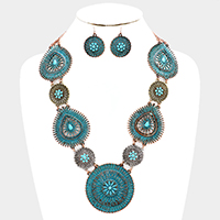 Embossed Cut Out Turquoise Navajo Necklace