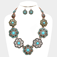 Embossed Cut Out Flower Turquoise Navajo Necklace