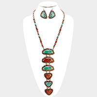 Multi Beaded Drop Geometric Turquoise Link Bib Necklace