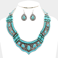 Embossed Multi Turquoise Collar Navajo Necklace