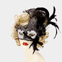 Halloween Feather Flower Masquerade Mask