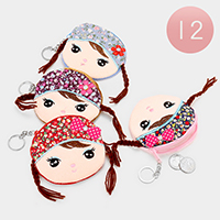 12 PCS -  Braided Hair Girl Coin Zipper Purses