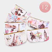 12 PCS - Woman Paris Eiffel Tower Print Coin Zipper Purses