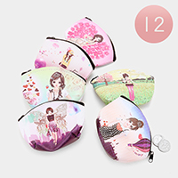 12 PCS - Girl Print Coin Zipper Purses
