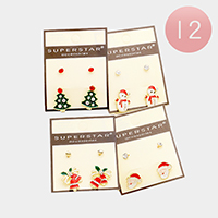 12 Pairs Christmas Theme Stud Earrings