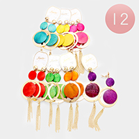 12 Pairs Wood Disc Chain Tassel Earrings