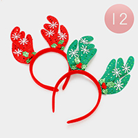 12 PCS Christmas Rudolph Headband