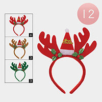 12 PCS - Christmas Santa Hat Rudolph Headbands