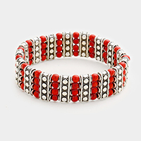 Red Coral Ball Bubble Patterned Metal Bar Stretch Bracelet
