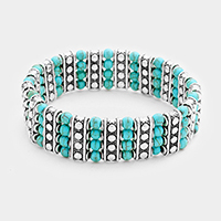 Turquoise Ball Bubble Patterned Metal Bar Stretch Bracelet