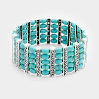 Turquoise Bead Embossed Metal Bar Stretch Bracelet
