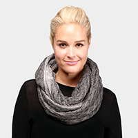 Fleece Lined Cable Knit Infinity Scarf