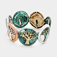 Tree of Life Metal Disc Stretch Bracelet