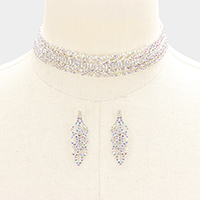 Pave Crystal Rhinestone Leaf Cluster Choker Necklace