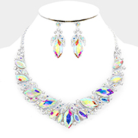 Marquise Glass Stone Leaf Statement Necklace