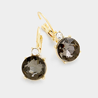 Double Round Stone Earrings