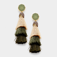 Faux Druzy Layered Triple Tassel Earrings