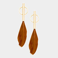Metal Bar Hoop Feather Earrings