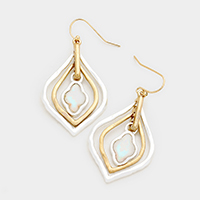 Mother of Pearl Quatrefoil Double Hoop Earrings