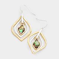 Abalone Quatrefoil Double Hoop Earrings