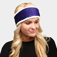 Faux Fur Trim Soft Knit Headband